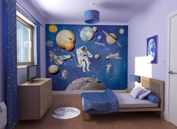 planet and astronaut in outer space themed childs bedroom interior design star curtains