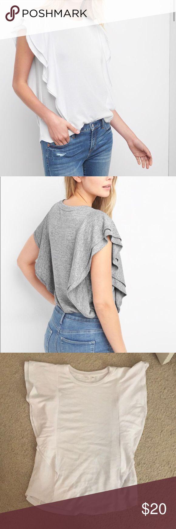 Softspun flutter sleeve top Supersoft marled jersey knit. Double-layered flutter sleeves. Crewneck. Flutter trim seams at sides, curved hem. ** never worn! GAP Tops Tees - Short Sleeve