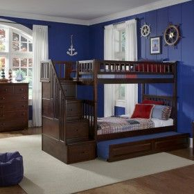 Antique Walnut Classic Arch Slatted Bunk Bed with Stairs ♥ Discover the season's newest designs and inspirations by Rosenberry. | Visit us at http://kidsbedroomideas.eu/ #furnituredesign #kidbedroom #kidsroom #kidfriendly #bedroomdecor