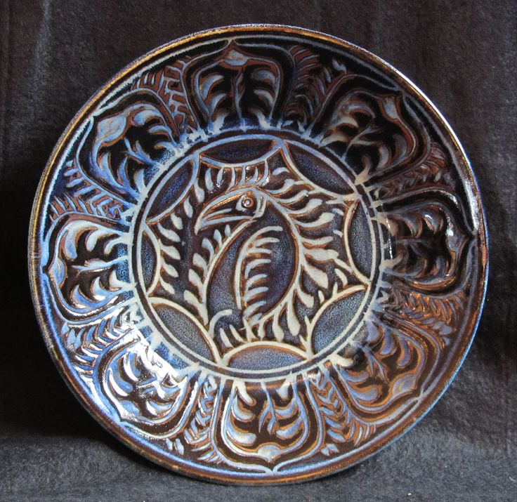 """An anti-Ming kraak ware dinner plate, sgraffitto jun glaze. """"Anti-Ming"""" because the traditional colours, blue on white, have been reversed."""