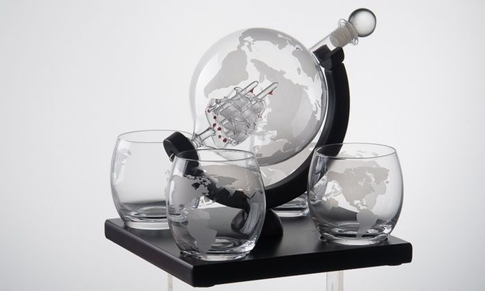 Eravino Etched Globe Whiskey Decanter Gift Set Whiskey Decanter Gift Set Glass Decanter Set Whiskey Decanter
