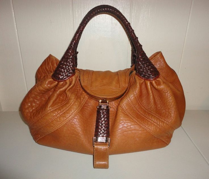 FENDI Spy Bag Camel Leather Cognac Handles/Trim Extra Large Sz
