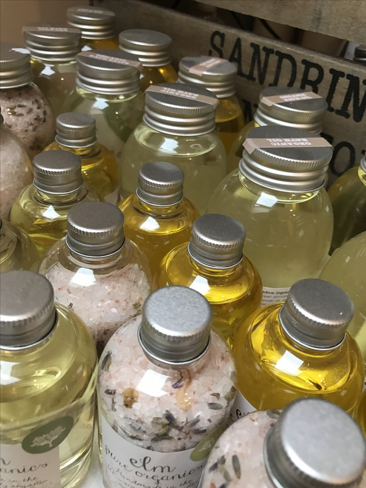 Elm pure organics all organic bath salts and bath oils.
