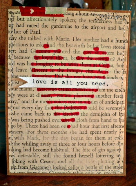 altered book page vday card!