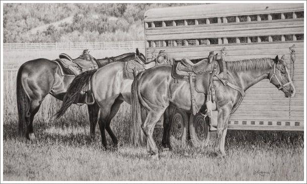 Original Drawings Of Horses By Western Artist Annette Randall
