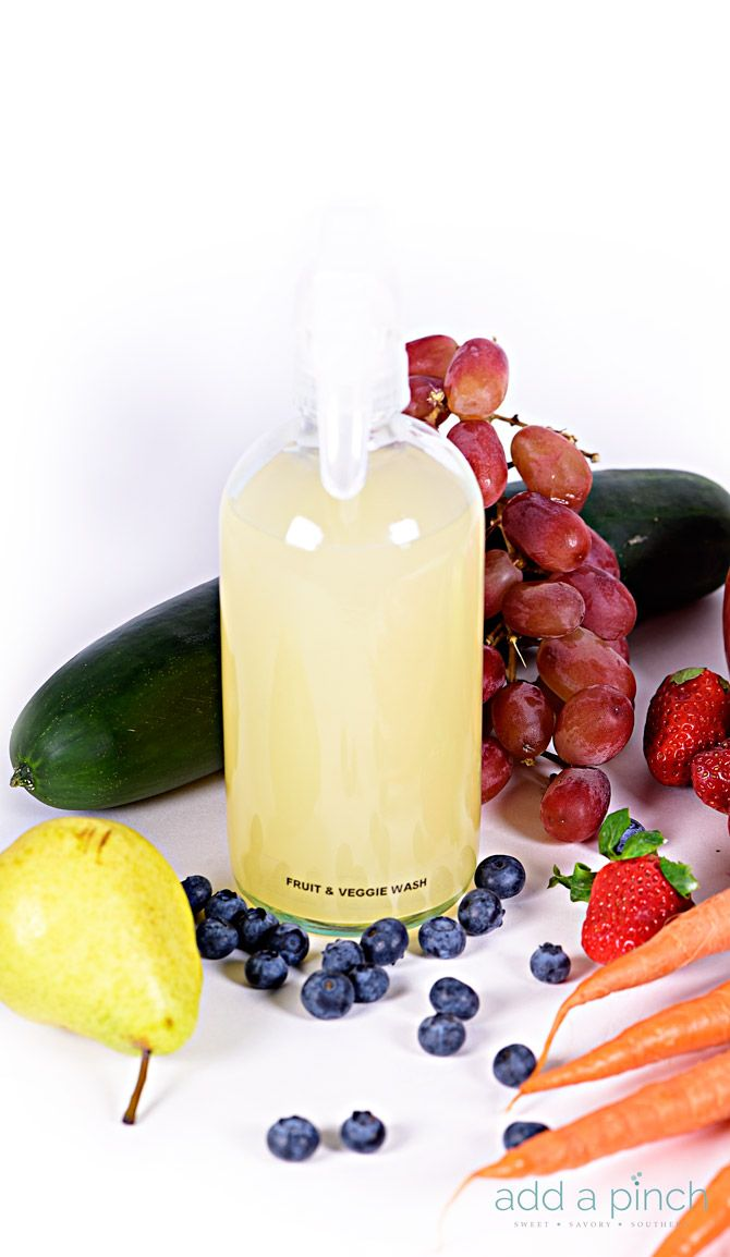 Homemade Fruit and Veggie Wash - An essential, all natural, inexpensive recipe for making your own fruit and veggie wash! Wash away pesticides, dirt, germs and more! // addapinch.com