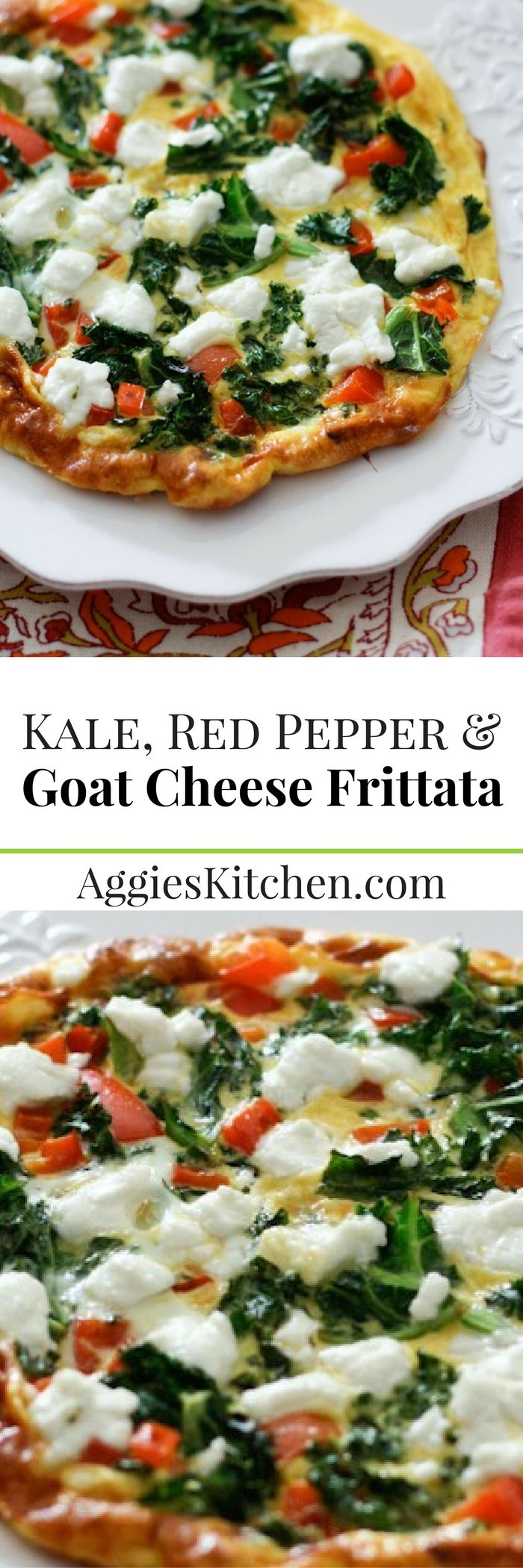 A light vegetarian option, this Kale, Red Pepper and Goat Cheese Frittata is great for breakfast, lunch or dinner.