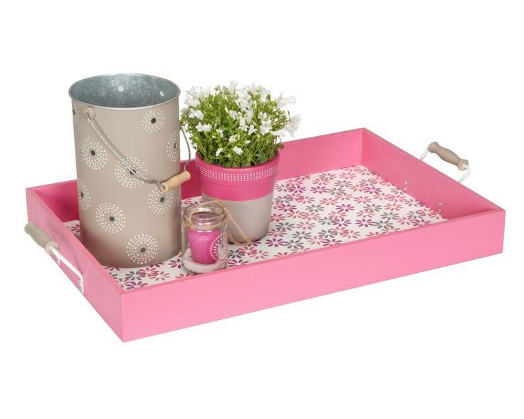 Dienblad Robijn: handig in gebruik, maar ook leuk te combineren met lantaarns en vrolijke bloempotten #lief #buiten #tuin