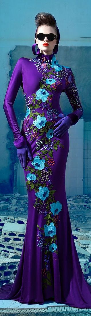 Nicolas Jebran Couture F/W 2013 ~ Stunning Gown - Love the Purple  & the Pop in Blue ♥♥