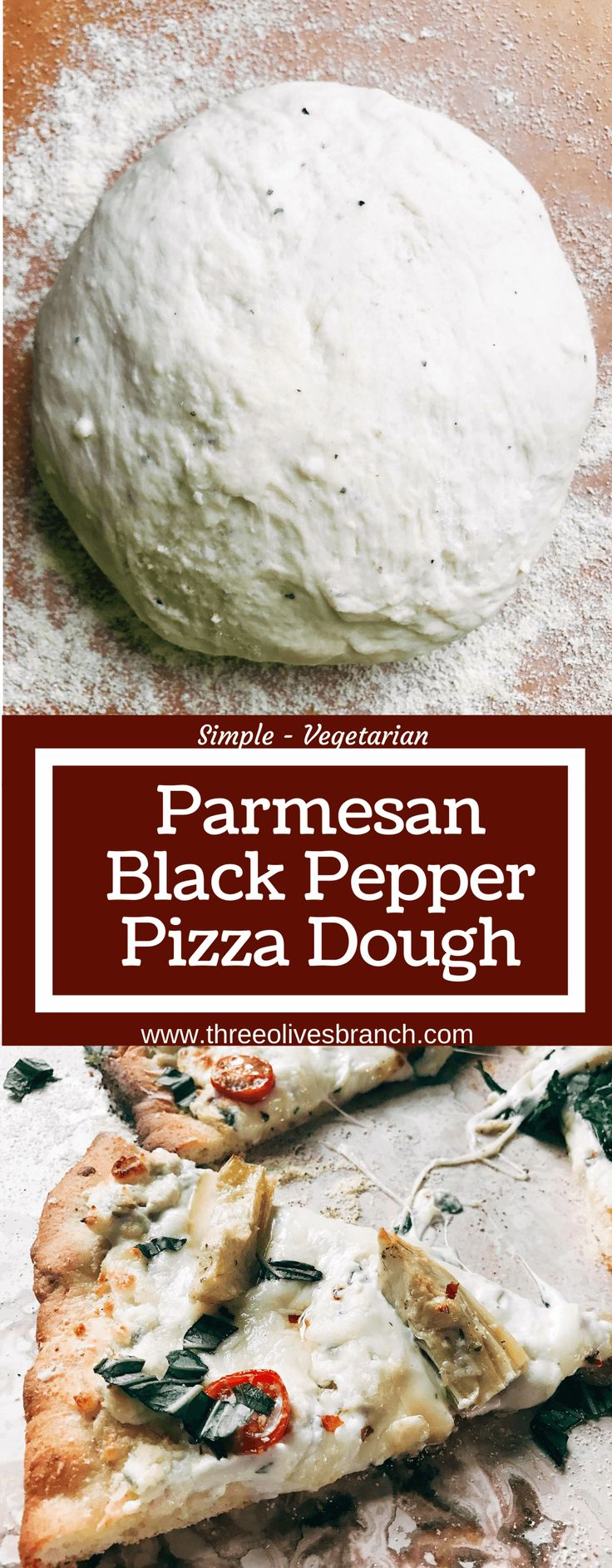 """Homemade pizza dough makes every pizza special! This fresh dough is simple and can be made in advance for a quick pizza night. Freezes well! Vegetarian, kid friendly, and delicious. Makes two 12"""" thin pizza crusts. Parmesan Black Pepper Pizza Dough   Three Olives Branch   www.threeolivesbranch.com"""