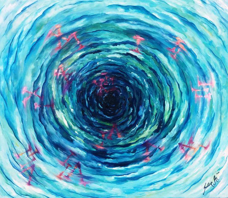 Zaman Girdabı (Time Vortex) by Sevdiye Ay #Tuval üzerine #YağlıBoya / #Oiloncanvas 70cm x 80cm  #gallerymak #sanat #resim #tablo #ig_sanat #zaman #mavi #sergi #sanatgalerisi #sanateseri #cagdassanat #sanatseverler #contemporaryart #artgallery #time #gununkaresi #acrylicpainting #painting #artoftheday #artcurator #contemporary #finearts #expressionism #istanbul #canvas #atolye #elyapimi