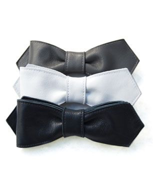 Leather bow tie...
