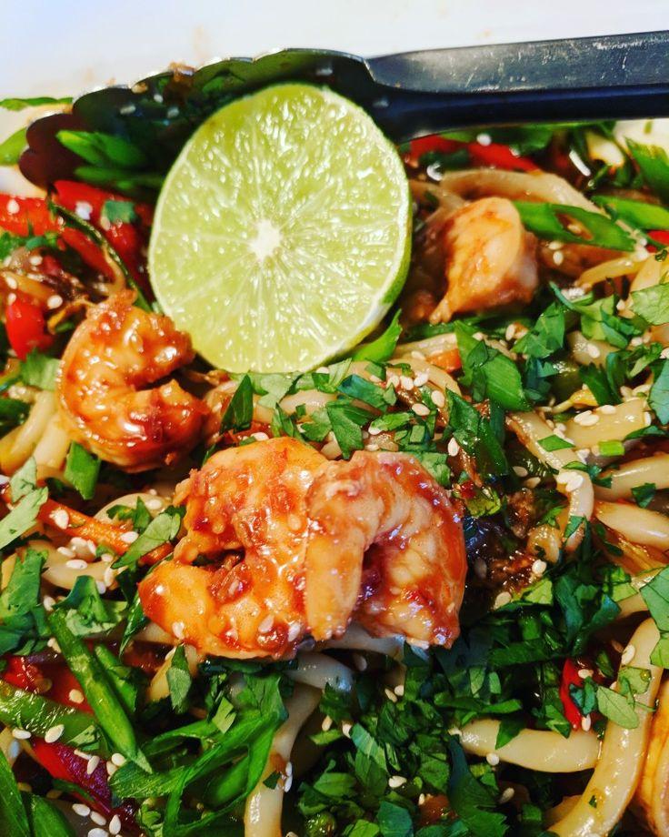 Shrimp udon noodles