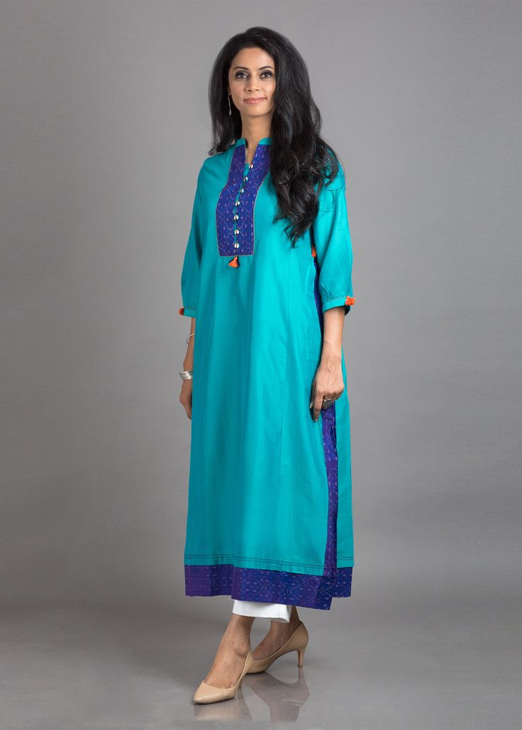 Turquoise Blue & Purple Butter Chanderi with Silk Ikat Tunic