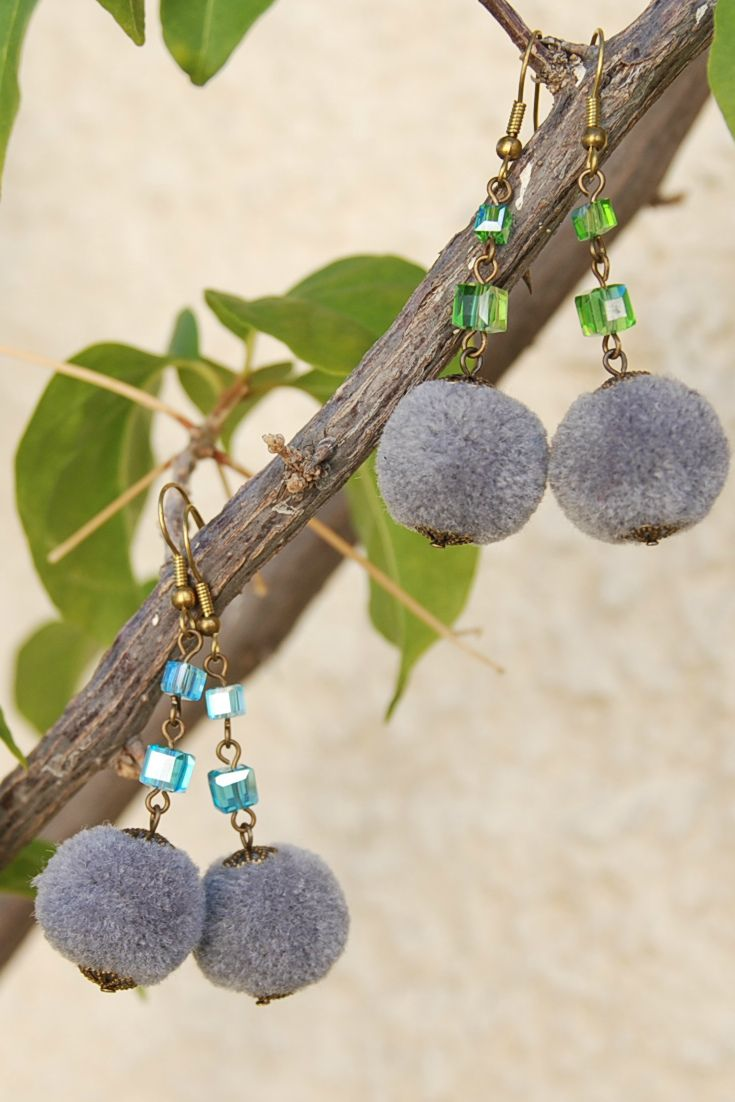 Trendy Pom Pom Earrings, Gray Ball Drop Earrings, Festive earrings, Christmas Earrings, Fluffy, Dainty Winter Earrings, Pompom/ Holiday earrings. Cute Earrings, Gray earrings