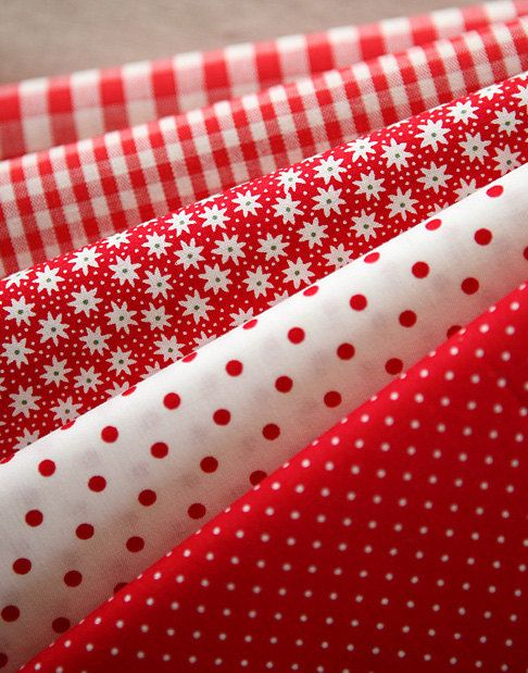 Vivid RED Floral, dots, and check Cotton fat Quarter Set of 5, U2439