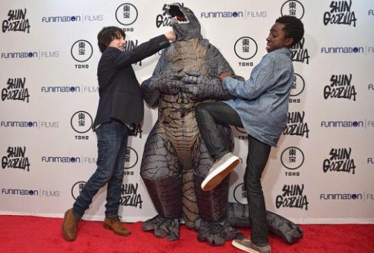 Finn Wolfhard & Caleb McLaughlin at the Shin Godzilla premiere