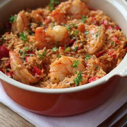 One pot Cajun prawns and rice - smoky, rich, fresh and delicious