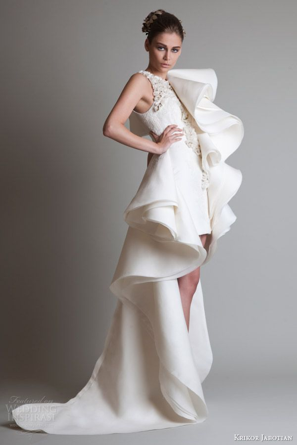 krikor jabotian couture dresses 2014 short dress over skirt