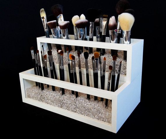 2 Tier Wood and Acrylic Makeup Brush Holder - Makeup Brush Holder - Makeup…