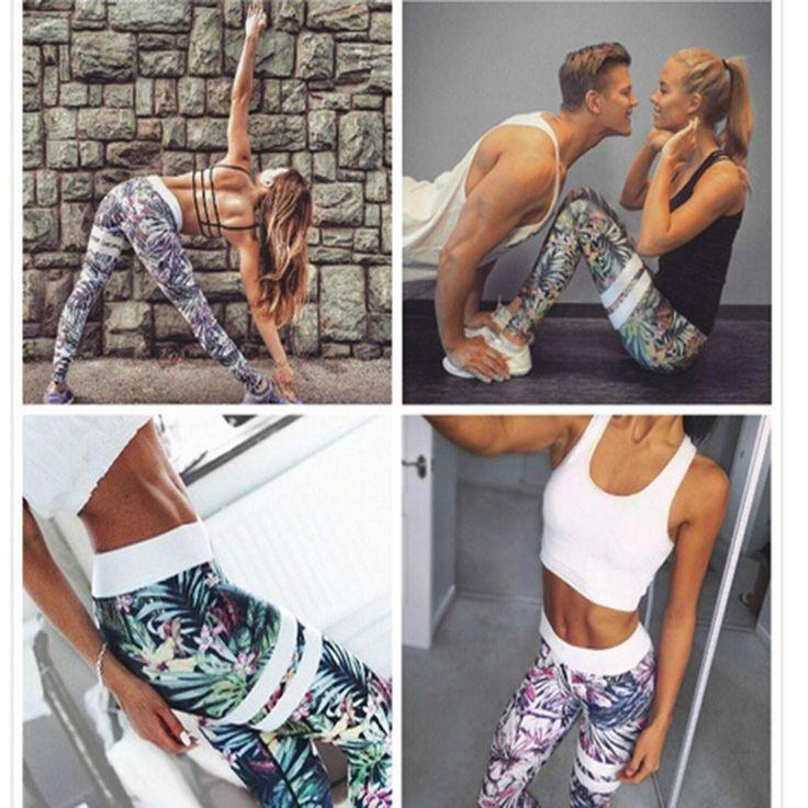 Women's Yoga Capris Floral Print Fitness Leggings