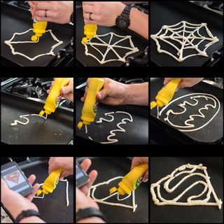 Make Superhero Pancakes!  Fill a mustard bottle with Pancake Mix.  Draw your design.  Let it sit for 30 seconds.  Fill it in with Pancake Mix and flip!
