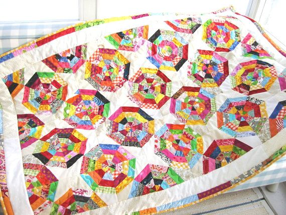 Lollipop bright and colorful quilt for kids size 37 by poppyshome, $185.00