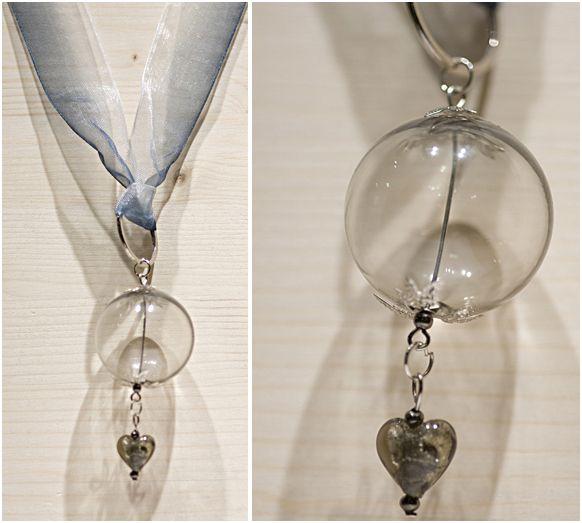 Murano glass beads pendant & ribbon