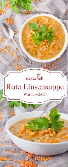 Suppen Rezept: Schön wärmende Linsensuppe mit roten Linsen - von herzelieb