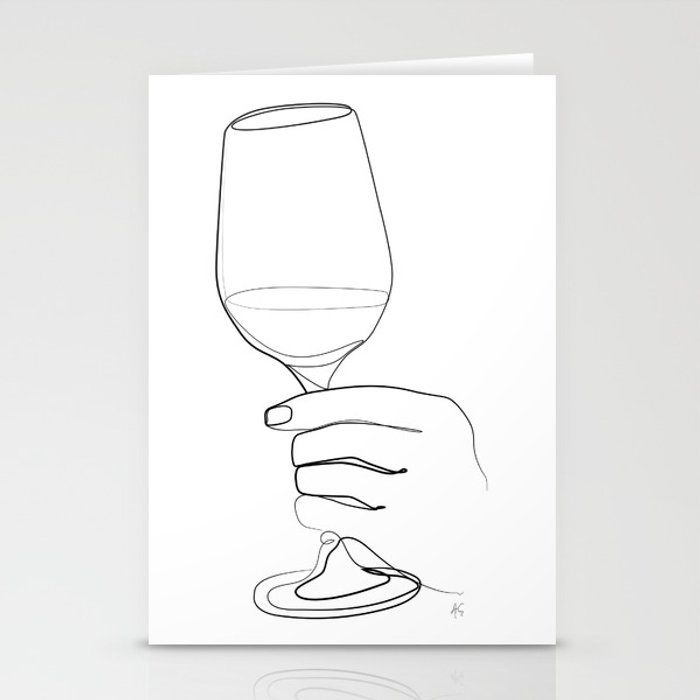 Minimal Black And White Hand Holding Wine Glass Art From The
