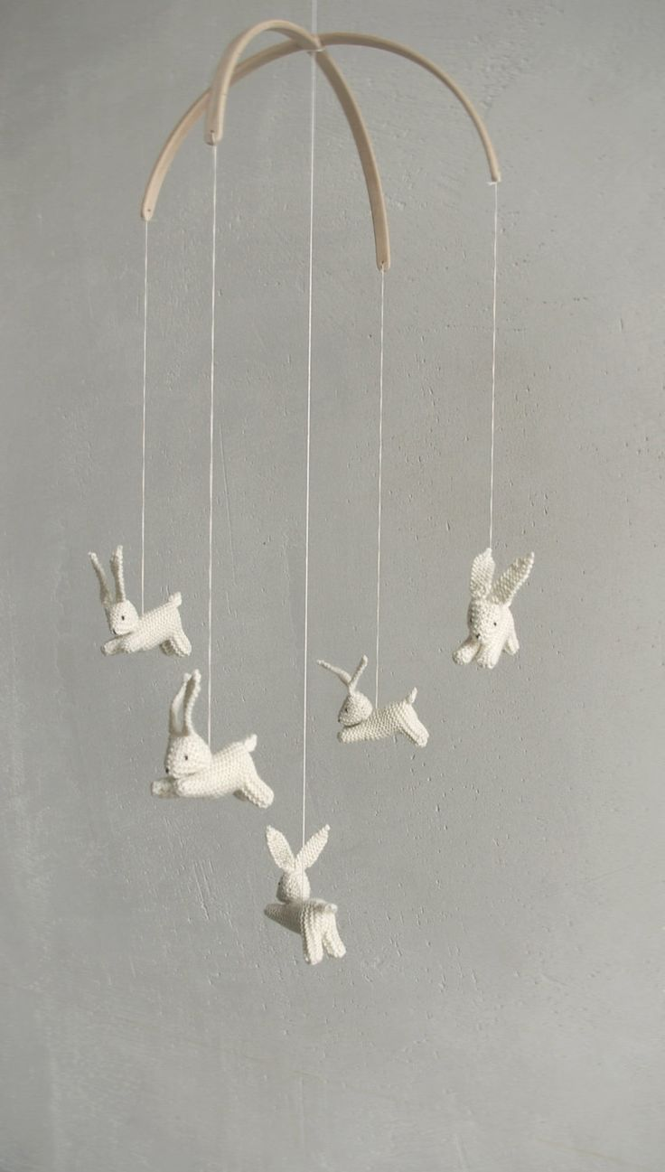 reserved for Jessika  / Baby crib mobile  / bunnies mobile / rabbit mobile / JOYFUL SPRING / made to order. $119.00, via Etsy.