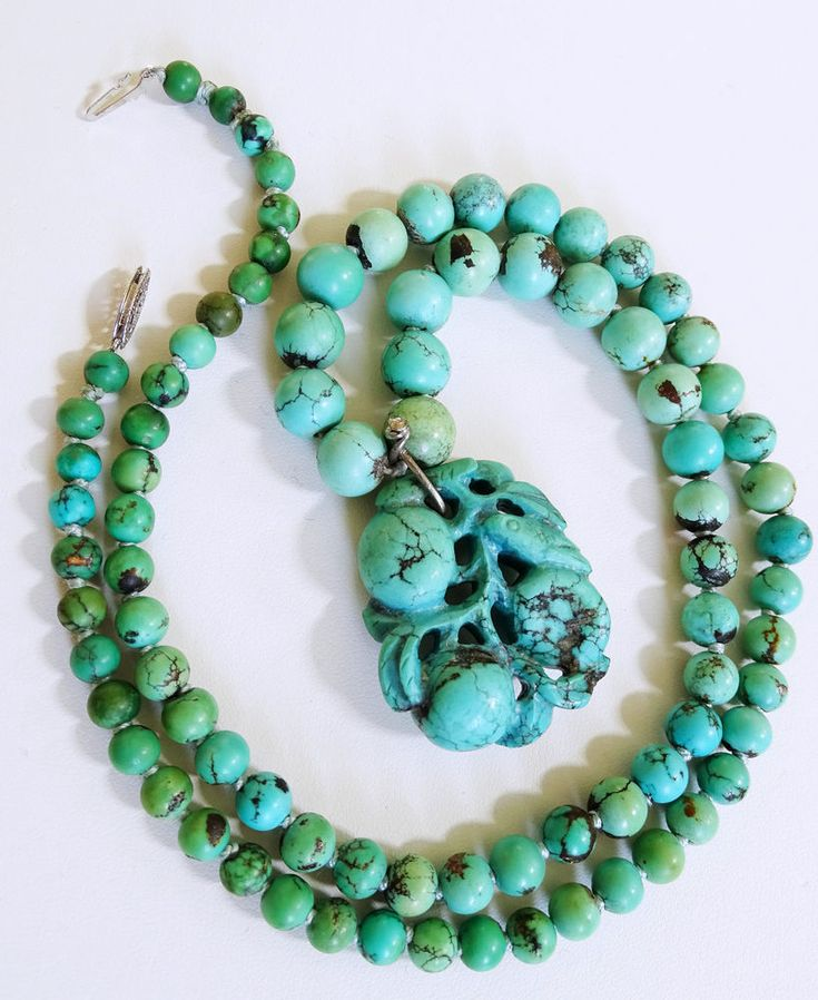 """Antique Chinese Turquoise Bead 26"""" Necklace Carved Turquoise Pendant Necklace  