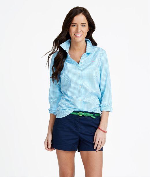Women 39 s button down shirts mini gingham women 39 s shirt for Preppy button down shirts