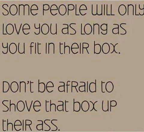 Some People Will Only Love You As Long As You Fit In Their Box Don't Be Afraid To Shove That Box Up Their Ass