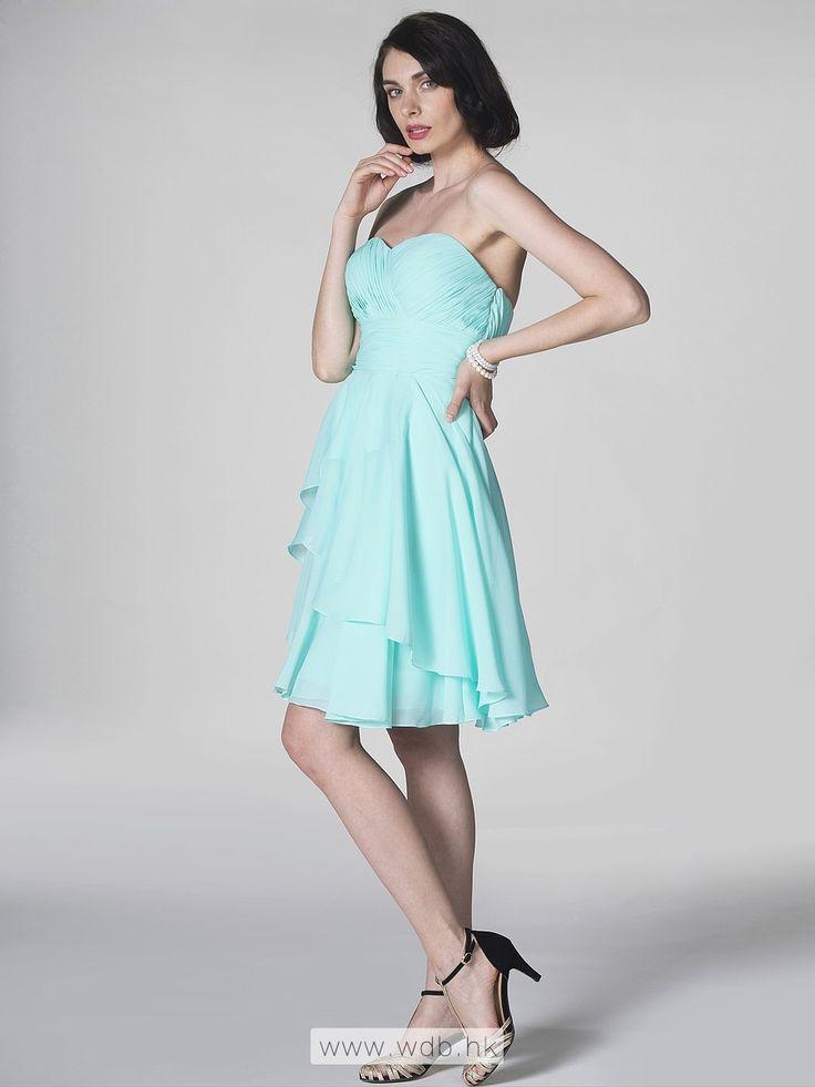 Strapless sweetheart short tiered chiffon dress $99.98