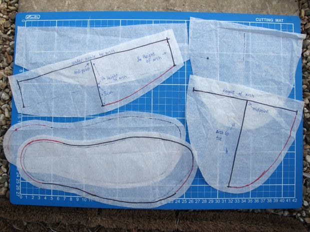 Picture of Making the pattern for homemade slippers from upcycled old sweater.