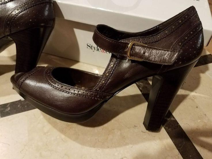 Style & Co. Elsey Brown Pumps Heels Shoes Women's Leather Size 8 M #StyleCo #PumpsClassics