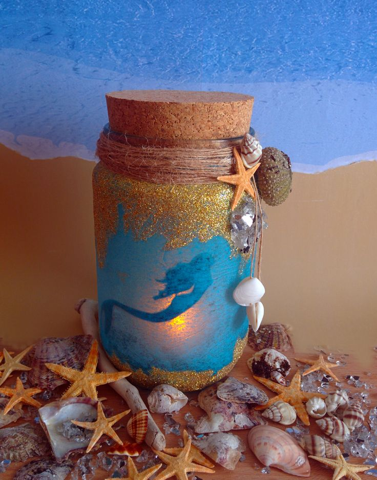 Mermaid Jar with glitter