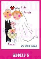 Etiqueta para personalizar los obsequios de boda a juego con la invitación.