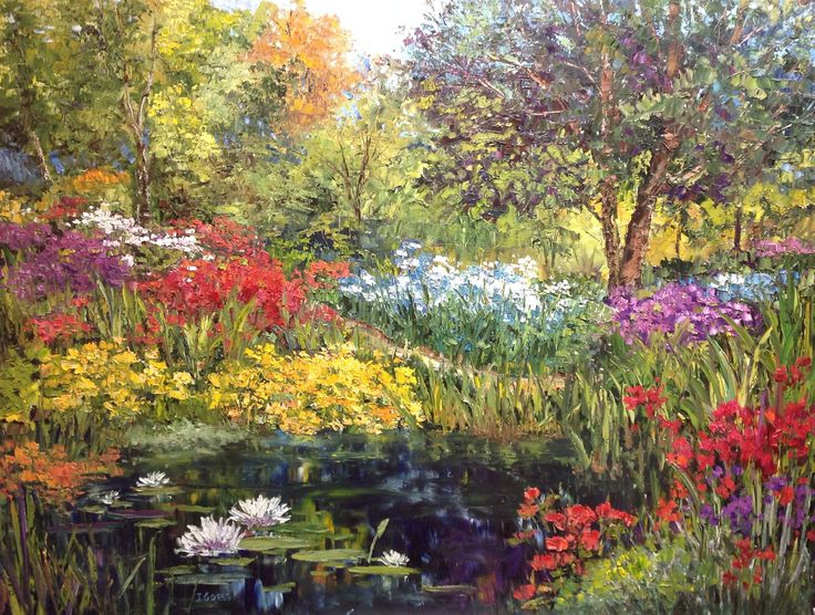 """Garden Oasis"", 2015; by Artist J. Guess; Oil on Canvas; 48wide x 36""high; available through Filsinger Fine Art Gallery, Palm Desert, CA"