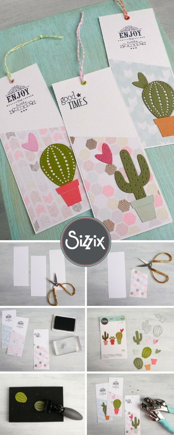 DIY handmade bookmark using a brand new Cacti Sizzix die. A simple & easy handmade papercraft for any book worm.