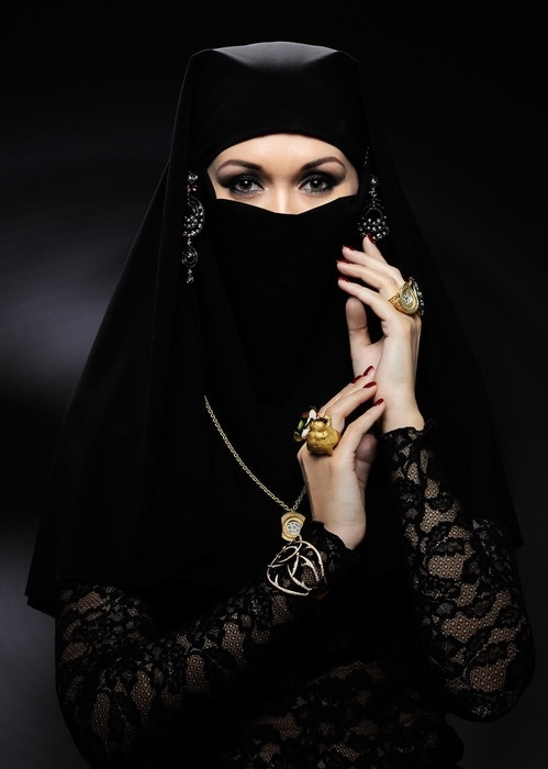 Dark Close Face Hijab, just make sure the sleeves are not see through nor skin tight.