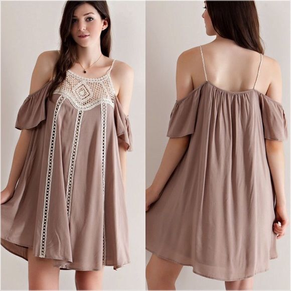 Cold Shoulder Tan Dress  S M L Beautiful cold shoulder tan dress with crochet details. Sizes: Small, Medium, Large available. Please do not purchase this listing, leave a comment below and I will create a separate listing for you to purchase. Dresses