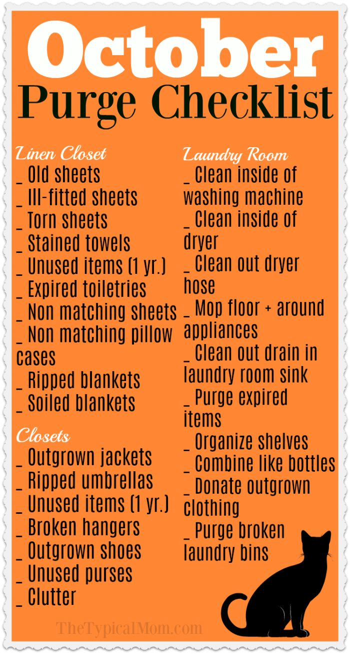 Free printable Fall cleaning checklist for October is here! Focus on just a few areas at a time so you don't get overwhelmed and purge your house clean. #cleaning #organiing #printable via @thetypicalmom