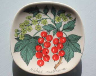"""Punainen viinimarja """"red currant"""" wall plate by Arabia Finland"""