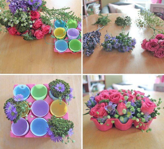 osterdeko selber machen blumen eierkarton kunststoff eier vasen