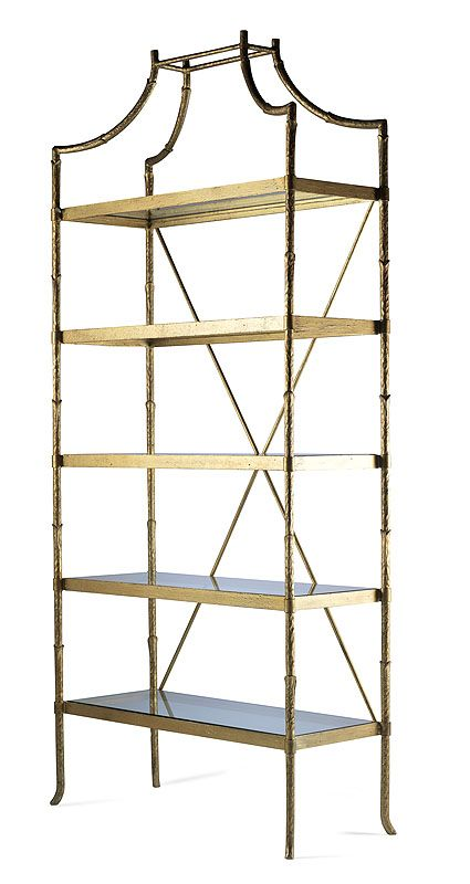 Highland House Furniture: HH07-723-GA - Golden Regency Metal Bamboo Etagere