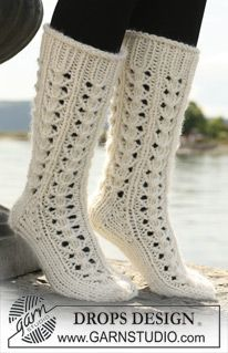 Knit socks pattern: Knit Socks, Knitted Crochet Socks, Crafty, Drops Design, Knit Sock Pattern, Crochet Socks Pattern, Sukkia Socks Socka, Boot Socks, Lace Patterns