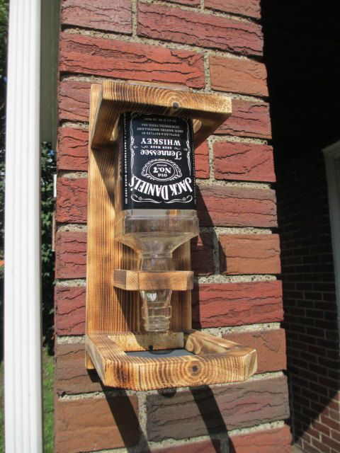 WOOD BIRD FEEDER Upcycled Whiskey Liquor Bottle - Jack Daniels, Southern Comfort, Jim Beam, Red Stag
