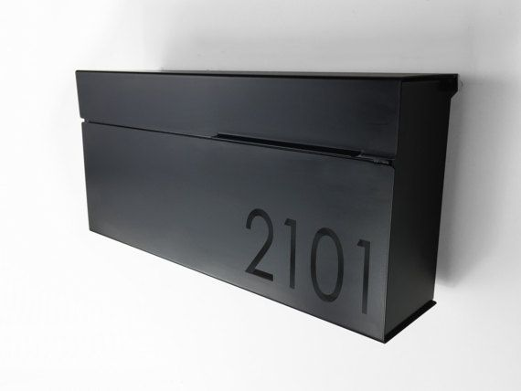 This modern mailbox will definitely add a touch of elegance to your house. Made from 20 GA Stainless steel grade 304 with a fine polish #4, it wont rust or change color.  It can easily fit numbers or text, just include your house number or text with your order. (numbers are optional)  Numbers on stainless are laser etched and numbers on black are vinyl.  Easy to install with wall mounting holes.  Size: 14.75 x 7 x 3.5   HOW TO ORDER Simply click the Add to Cart button at the top of the page…